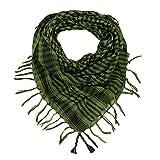 Manta unisex a cuadros árabe Arafat Shemagh Kafiyah estilo desierto bufanda - verde - Talla única