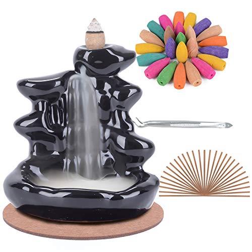 Soporte de incienso de reflujo de cerámica hecho a mano Quemador de incienso de cascada, adorno de aromaterapia Decoración para el hogar con 120 conos de incienso de reflujo + 30 varita de incienso