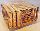 Tisch aus Weinkisten auf Rollen mit Glasplatte geflammt Couchtisch Shabby Chic Vintage Tisch aus Obstkisten Apfelkisten Holzkisten - 4