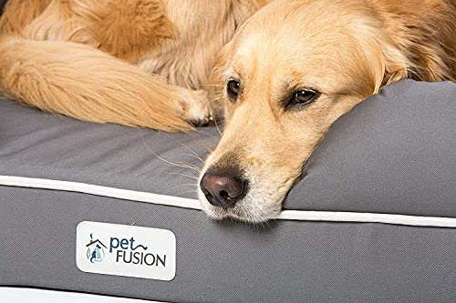 PetFusion Large Orthopedic Dog Bed, 4 Solid Memory Foam, Waterproof liner, Removable Cover. [Gray, Rectangle pet bed, dog couch, dog sofa, dog lounge]. Breathable cotton & polyester fiber blend
