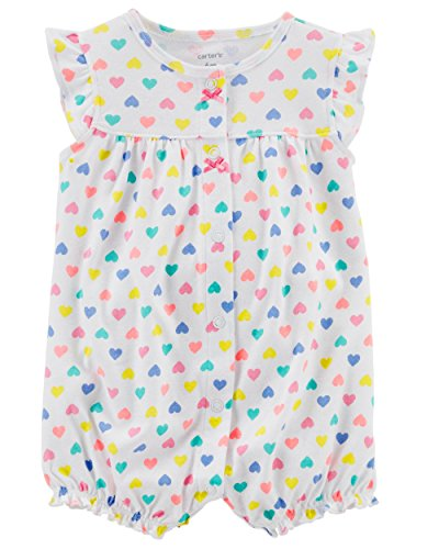 Carter's Baby Girls' Ground Rainbow Snap up Cotton Romper (18 Months, Multi/White Heart)