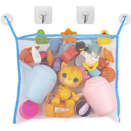 Badewannen Spielzeug Aufbewahrungsnetz, Organizer mit 2 Saugnapf-Haken + 2 Klebehaken, verhindert Schimmel an Spielzeugen, Spielzeugnetz zum Hängen, waschmaschinenfest, großes Netz zum Organisieren