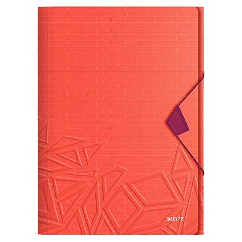Leitz, Eckspannermappe, Für bis zu 150 Blatt A4, Gummibandverschluss, PP-Material, Rot, Urban Chic, 46490024