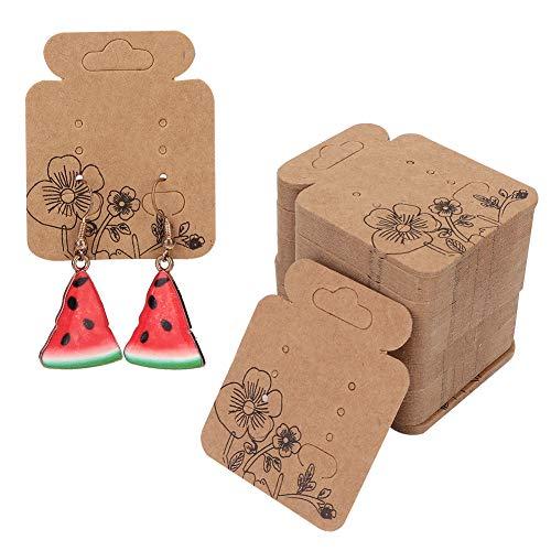 Yinuoday Ohrring-Verpackungskarten, 100 Stück, Blumen-Muster, Ohrring-Kartenhalter für Ohrstecker, Display-Karte, Kraftpapier, Etiketten für DIY Ohrstecker und Ohrringe