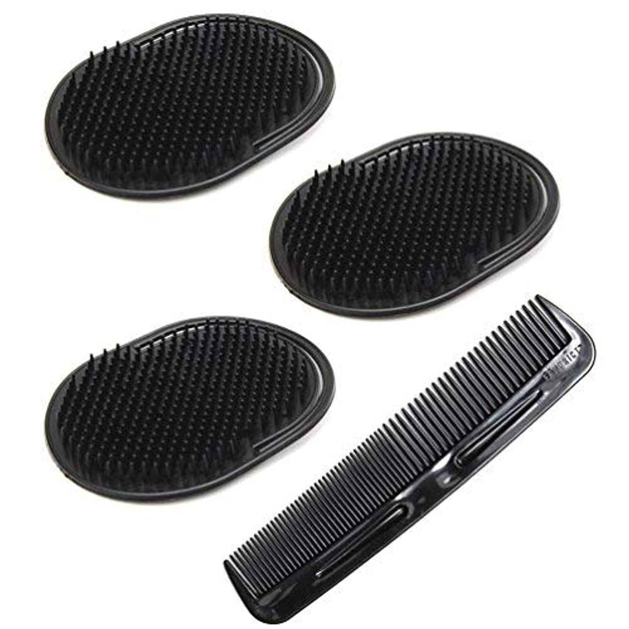 行列習熟度毛皮Luxxii (4 Pack) Hair Scalp Massage Shampoo Palm Brush Massager with 5