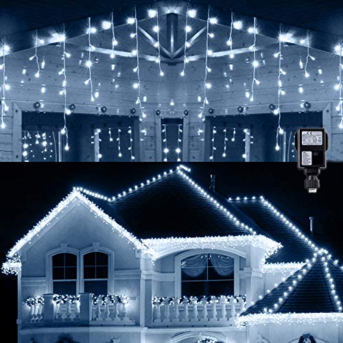 Hezbjiti Cortina de Luces, 400 LEDs 10m Cadenas de Luces de LED, 8 Modos Impermeable Luce de Hadas con 75 Gotas Decoración de Fiesta, Boda, Balcón, Ventana, Pared, Patio, Escaparate, Jardín, Navidad