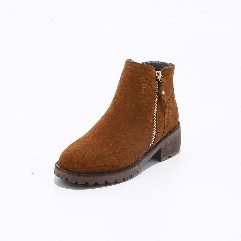AdeeSu Womens Square Heels Chunky Heels Platform Imitated Suede Boots SXE04220