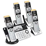 VTECH IS8151-4 Super Long Range 4 Handset Cordless Phone for Home with Answering Machine, 2300 ft Range, Call Blocking, Bluetooth, Headset Jack, Power Backup, Expandable to 12 HS, Silver/Black