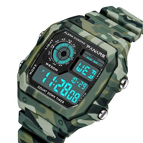 Orologi da polso accessori moda, uomini camo impermeabile Daul Time allarme cronometro digitale sport orologio da polso