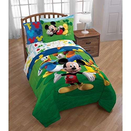 Ln 2 Piece Kids Disney Mickey Mouse Club House Comforter Twin Set, Bright Fun Mickey Mouse Donald Duck Goofy Character Themed Bedding Micky Mouses Adventure The TV Show Pattern, Green Blue Red Yellow