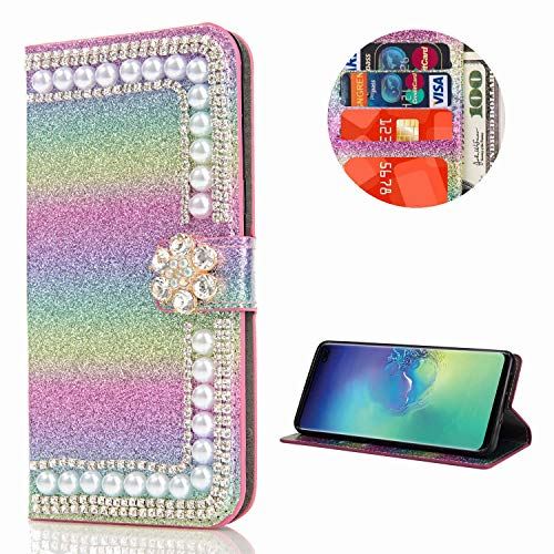 Miagon Hülle Glitzer für Samsung Galaxy A20/30,Diamant Strass Perle Blume PU Leder Handyhülle Ständer Funktion Schutzhülle Brieftasche Cover,Regenbogen Rosa