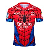 2019 Lions Hero Edition Rugby Jersey T-Shirts, Chemise Spiderman Fan Respirant Football à Manches Courtes Sport Top Polo Confortable-Red-L