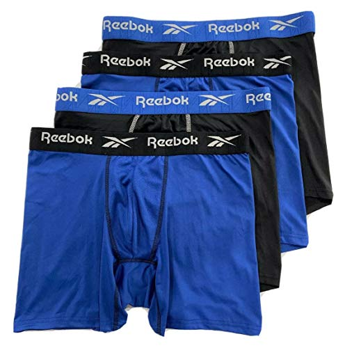 Reebok Men's Performance Boxer Briefs with Comfort Pouch (4 Pack) (Black/Royal, Large)