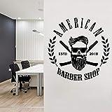 wopiaol Autocollants en Vinyle pour Barbiers, personnalisés, coiffeurs, Hommes, coiffeurs, Barbes, appareils pour Le Visage, Logos, Murs de Salon, peintures murales