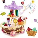 INFANT MOMENT Carrito de Helados 17 Piezas de Juguete para Niños para Juegos de rol Juego, con Música y Luces, Comida de Juego con de Rotación Automática para Niños Mayores de 3 Años (Rosa)