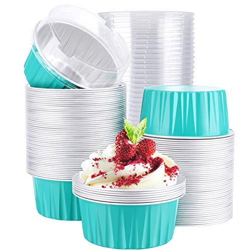 Aluminum Foil Cups, Eusoar 5oz 100pcs Baking Cups with Lids, 3.34x2.59x2.35' Snacks Desserts Flan, Economical Catering Gathering Club Shower Wedding Party Favor Baking Cups- Blue