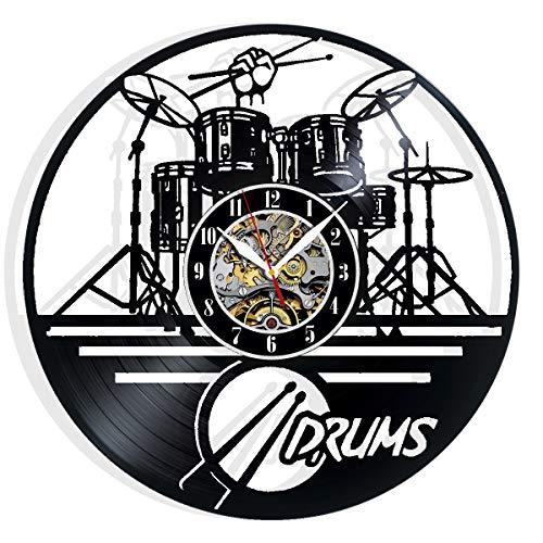 Vinyl Evolution Music Drums Wall Clock Art Home Decor Interior Design Best Gift for Fans Room Wall Art