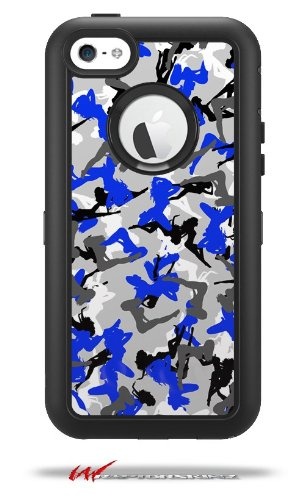 Sexy Girl Silhouette Camo Blue - Decal Style Vinyl Skin fits Otterbox Defender iPhone 5C Case (CASE Sold Separately)