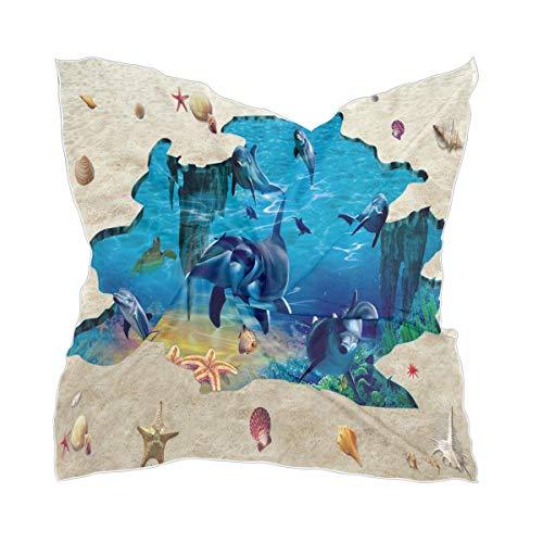 Bufanda cuadrada para mujer con diseño de estrellas de mar de tiburón y estrella de mar