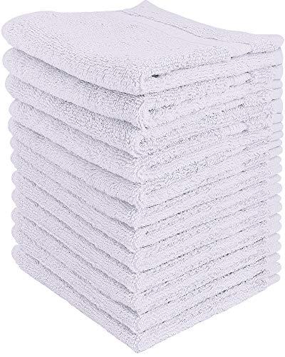 Utopia Towels - Premium Washandjes Set (12 Pack, 30 x 30 cm, Wit) - 600 GSM 100% Cotton Flannel Gezichtsdoeken, Hoogwaardige Absorberende en Zachte Voelbare Vingertop Handdoeken