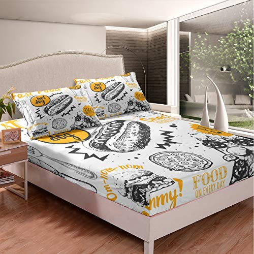Hot Dog Print Bed Sheet Set Delicious Pizza Chip Hamburger Bedding Set for Kids Boys Girls Teens Fast Food Theme Decor Fitted Sheet Gray Yellow White Bed Cover 3Pcs King Size