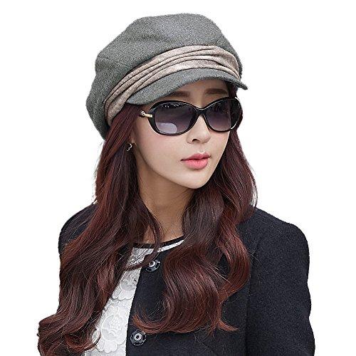 Comhats Warme Baumwolle graue Barett Mütze Zeitungsjunge Mütze Cabbie(Chauffeurmütze) Für Damen Mit Visor Baskenmütze Schirmmütze