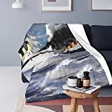 Boutique Throw Blanket -Rms Titanic and Her Sister The Hmhs Britannic Early 20th Century Super Soft Fleece Throw Blankets,Fuzzy Plush Blanket Oversized,Thin Lightweight Blanket for All Season 50'X40'