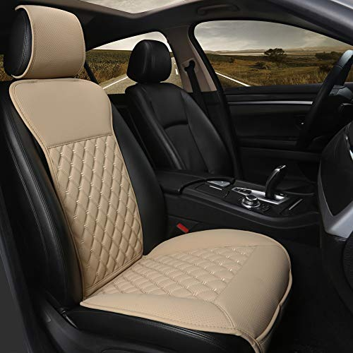 Black Panther Car Seat Cover,Breathable Universal PU Front Car Seat Protector,Non-Wrapped Bottom with Backrest (1PC- Beige)