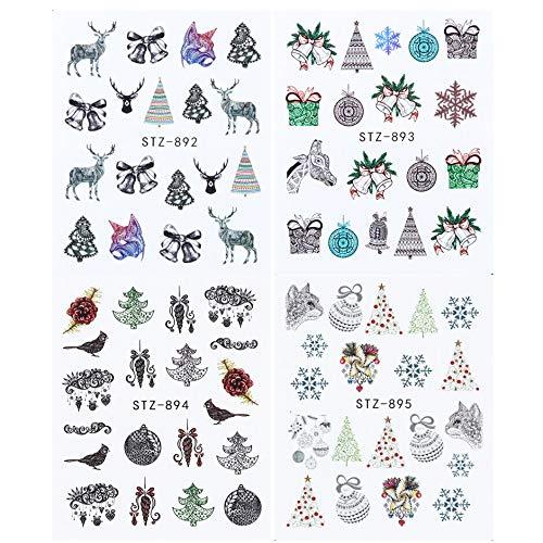 New Year's Slider for Nail Designer White Black Snowflake Bear Elk Transfer Water Sticker Decals Nail Decor Set CHSTZ1098-1113