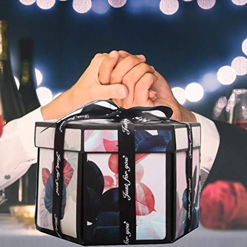 Navigatee Überraschung DIY Album Black Explosion Box DIY Explosion Box Handgefertigte Geschenkbox Geburtstag Hochzeit Valentinstag Weihnachten Überraschungsgeschenk Männer Frauen Excellent