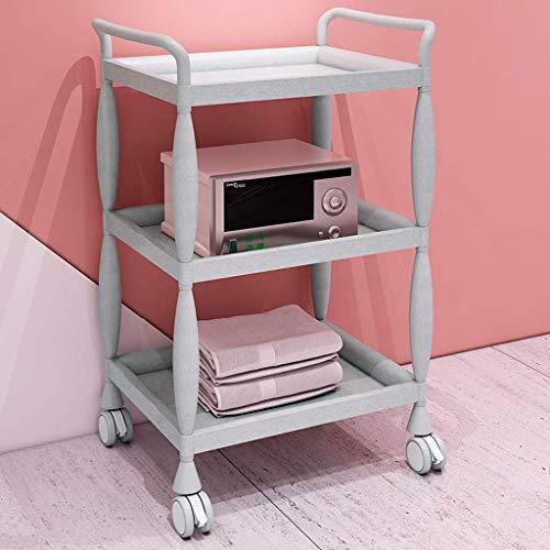 Groen Plastic gereedschapswagen, multifunctioneel, 3 rekken, schoonheidssalon, gereedschap, opslagrek, keukenmeubels, accessoires, keukeneiland, wagen, kleur groen grijs