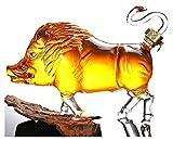 Decanter Set Decantador De Whisky Decantador De Vino Jarra De Vino De Vidrio con Forma De Jabalí, Decantador De Whisky De 1000 Ml, Botella De Vidrio Artística Botella De Artesanía, Artesanías De Vid