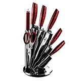 BERLINGER HAUS - 8 pcs Knife Set with Acrylic Stand, 3CR13 Stainless Steel, Metallic Line - Burgundy Edition
