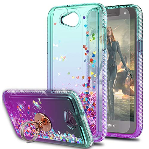 KaiMai LG Fiesta 2 LTE Case LG X Charge Case LG X Power 2 Case with HD Screen Protector with Ring Holder, Glitter Moving Quicksand Clear Cute Shiny Girls Women Phone Case for LG LV7-Aqua/Purple Ring
