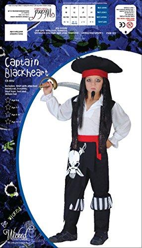 Kids Boys Captain Blackheart Pirate Small (3-4 years) Fancy Dress Costume