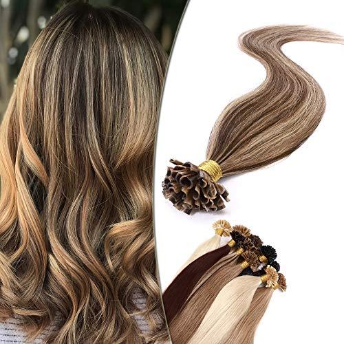 SEGO Meche Extension Cheveux a Chaud Keratine - 60 cm 4P27#Châtain Chocolat & Blond Foncé [1g *50 Mèche] - Rajout Remy Hair Naturel
