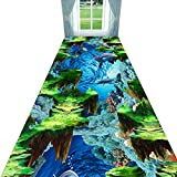 Alfombras De Pasillo Alargadas 3D Interesar Sabor Alfombra Cocina Salón Área Alfombra Entrada Corredor Alfombra Estrecho Largo Entrada Antideslizante Almohadilla De Pie Fácil De Limpiar,Blue-1.2×4m