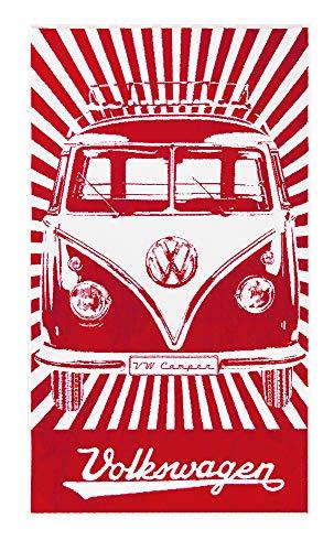 BRISA VW Collection - Volkswagen Furgoneta Hippie Bus T1 Van Gran Toalla de Algodón Suave para Baño, Playa y Sauna como Idea de Regalo/Camping/Outdoor/Souvenir (Rayas/Rojo&Blanco)