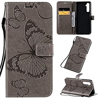 Yhuisen Butterfly Flower Floral Pattern PU Leather Wallet Stand Case with Wrist Strap for OPPO Realme 6 Pro (Color : Gray)