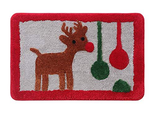 WHDJ Alfombra de Puerta Dibujos Animados de Navidad, Felpudo de Pelusa Antideslizante Absorbente de Agua Alfombrilla de fácil Limpieza para baño y Entrada a la habitación de los niños