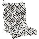 AmazonBasics Tufted Outdoor High Back Patio Chair Cushion- Black Geo