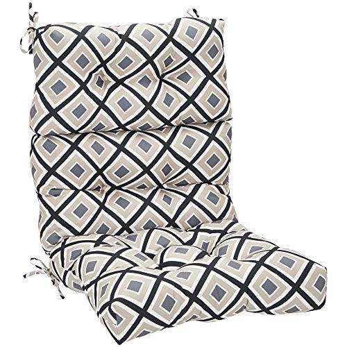 Amazon Basics Tufted Outdoor High Back Patio Chair Cushion- Black Geo