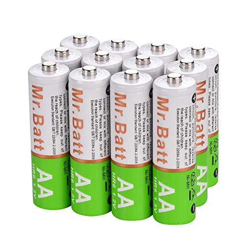 MrBatt Rechargeable AA Batteries 1600mAh 12V NiMH AA Batteries PreCharged 12 Pack
