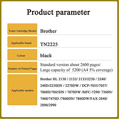 AZXC Reemplazo de Cartuchos de tóner Compatible para el Hermano TN225, Trabajo de Alto Rendimiento con MFC-7860DW HL2270 DCP-7065DN 7070DW TN2225, con Chip Stand alone12000p