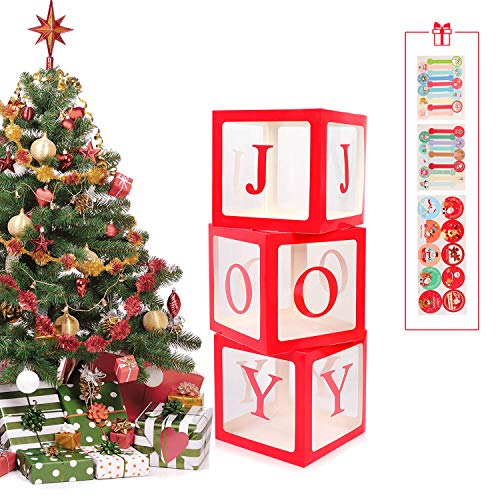 Christmas Block Party Decorations Large Red Transparent Joy Box Balloon Box with 30pcs Holiday Decals for Holiday Party Decorations, Home Decor, Fireplace Décor