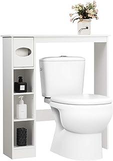 GOPLUS Étagère Dessus Toilette Compacte avec 4 Compartiments de Rangement et Porte-Papier Hygiénique,Meuble de Rangement A...