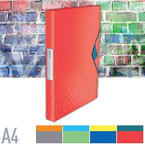 Leitz Urban Chic Ablagebox, Für bis zu 250 Blatt in A4 Format, Gummizugverschluss, Polypropylen, Rot, 39480020