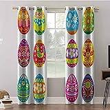 Cortinas opacas, 52 x 95 x 95 cm, cortinas opacas para oscurecer la habitación, coloridos huevos de Pascua con flores rayas y diseño de gallina, cortinas opacas para decoración del hogar (2 paneles)