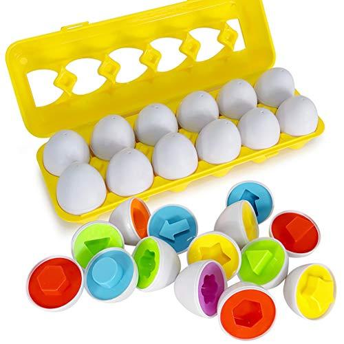 Color & Shape Sorter Passendes Ei Set Pädagogisches Lernspielzeug Kinder Geschenk 12 Stücke, Kleinkind Eier Spielzeug, Formerkennung Spielzeug Ostereier für Kinder Junge Mädchen (Als Zeigen)