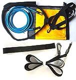Enipate - Cinturón de entrenamiento de natación para entrenamiento de resistencia estacionaria con paracaídas de arrastre y anclaje elástico para adultos, niños, profesionales, uso aficionado, azul